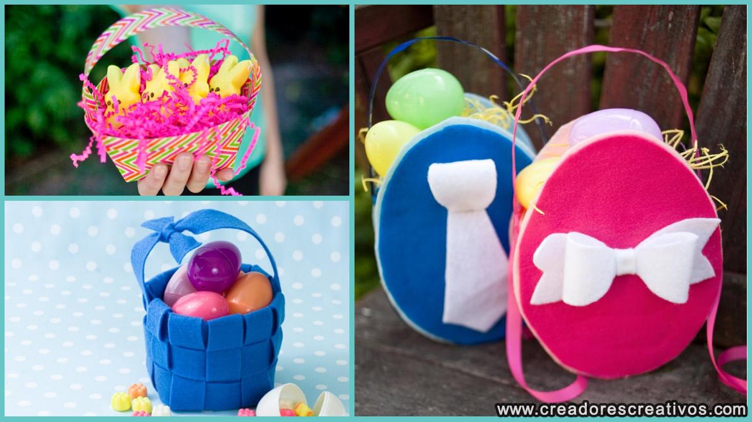 Canastas del Día de Pascua (tela y cinta adhesiva)